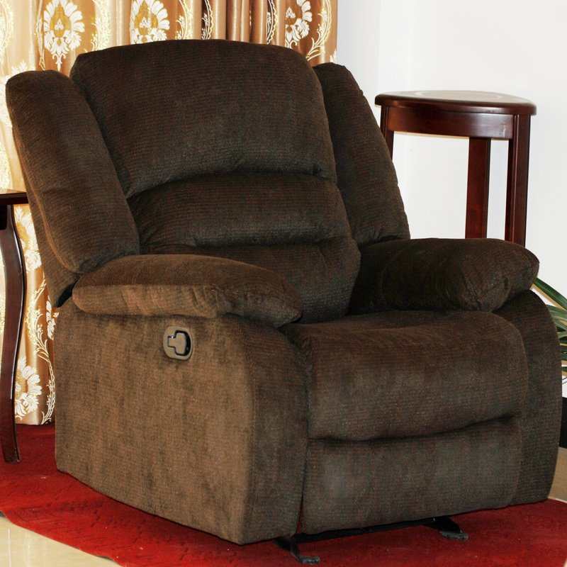 US Pride Furniture Lure Cotton Twill Manual Rocker Recliner, Chocolate