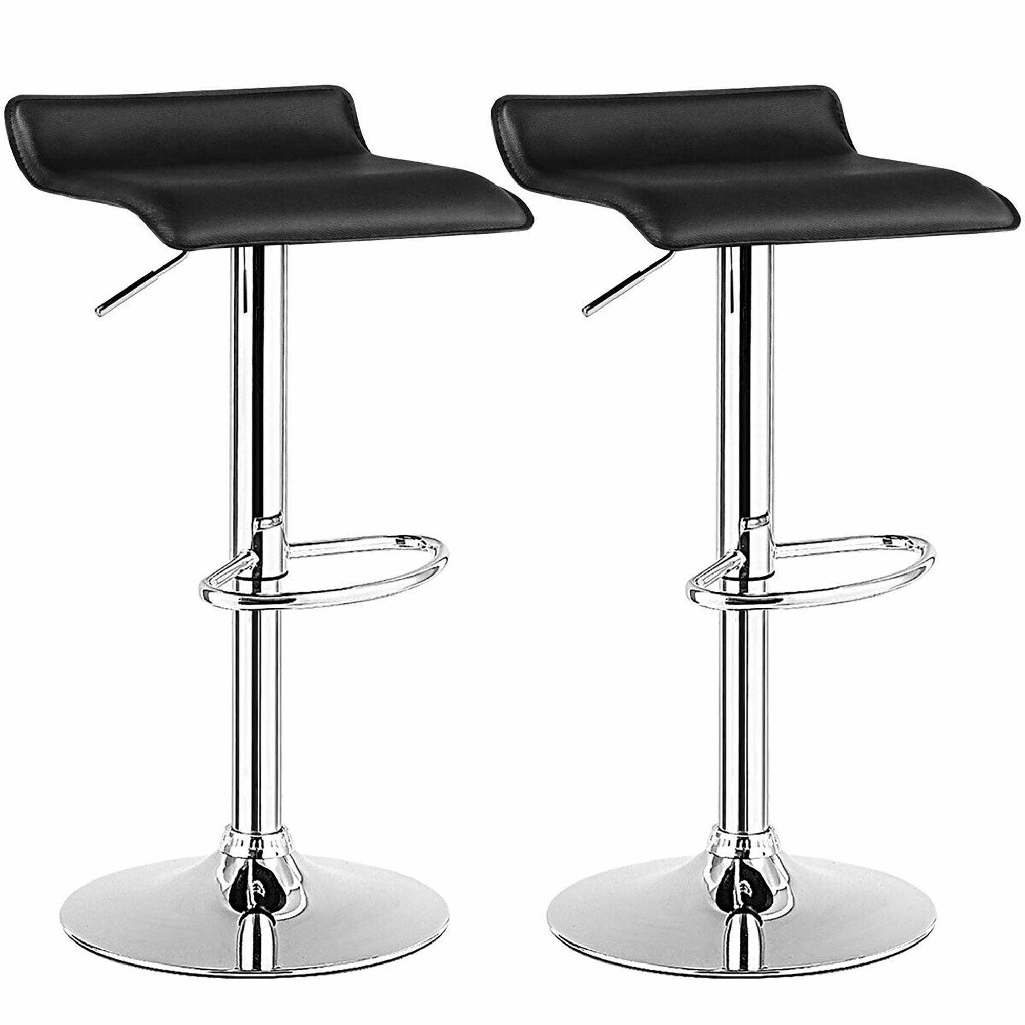 Picture of: Costway Set Of 2 Swivel Bar Stool Pu Leather Adjustable Kitchen Counter Bar Chairs Black Walmart Com Walmart Com