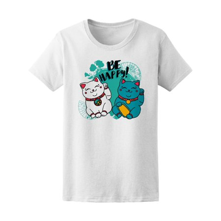 Be Happy! Colorful Japanese Cats Tee Women's -Image by Shutterstock Japan White Tee