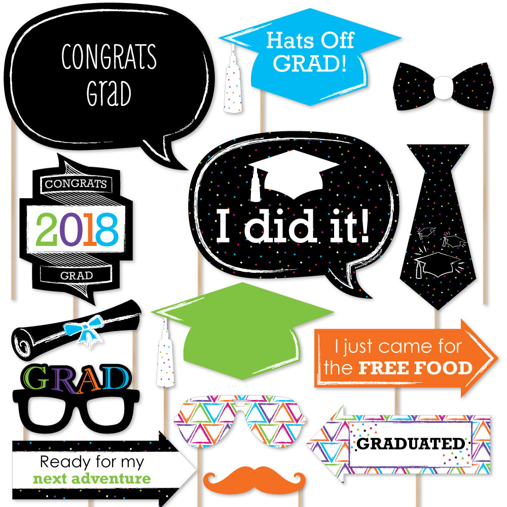 Hats Off Grad - 2018 Graduation Party Photo Booth Props Kit - 20 Count