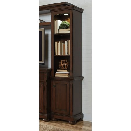 Porter W697-23 77 Tall Right Pier Including 5 Shelves with Adjustable Shelf  Decorative Hardware and Molding Detail in Rustic Brown""