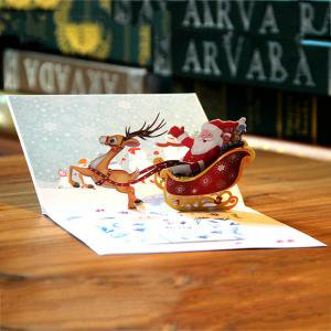 3d Pop Up Holiday Greeting Cards Santas Sleigh Deer Christmas Gift Bands Without Stones