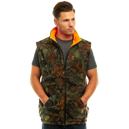 MEN'S REVERSIBLE CAMO & BLAZE ORANGE FLEECE HUNTING VEST - FULL ZIP WARM VEST Outback Reversible Vest