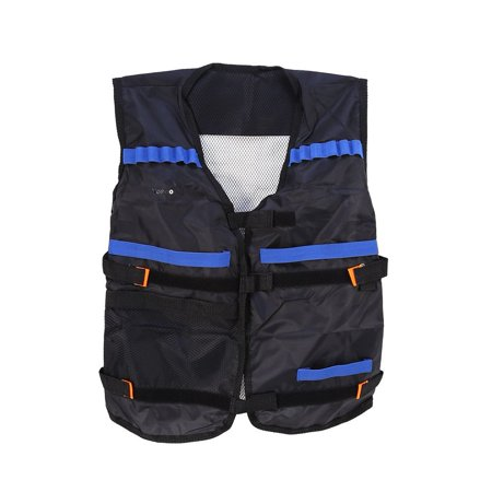 EECOO Kids Elite Tactial Vest, Tactial Jacket Waistcoat With Storage Pockets for N-Strike Bullets, Black