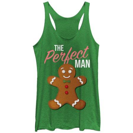 Man Chin (Chin Up Women's Christmas Perfect Gingerbread Man Racerback Tank)