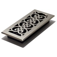 "Decor Grates 4"" x 10"" Steel Plated Brushed Nickel Finish Scroll Design Floor Register"