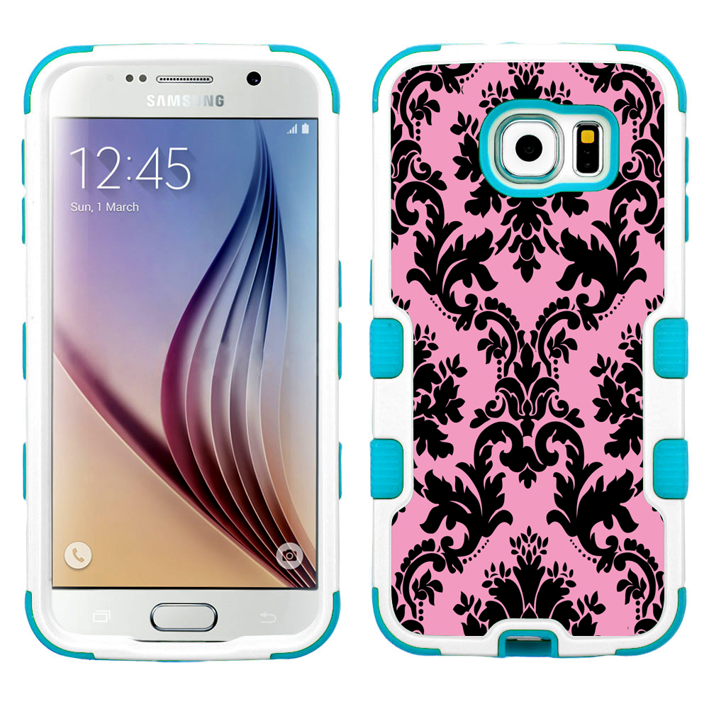 One Tough Shield ® 3-Layer Hybrid Case (White w/Teal Silicone) for Samsung Galaxy S6 - Victorian Pink Black