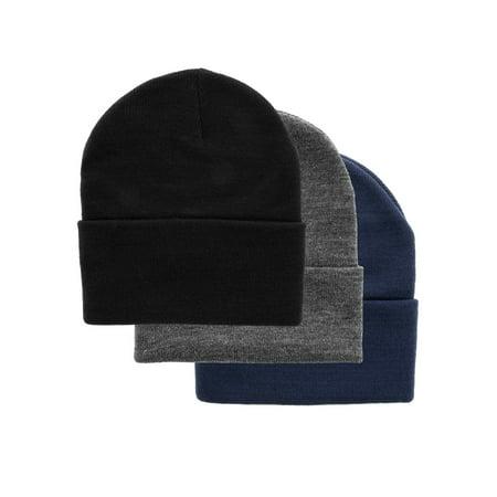 3 DG Hill Warm Winter Hats For Men, Beanie Hat For Men Set In Navy Blue, Slate Gray & Black, Pack Of Soft Acrylic Winter Caps For Men, Thermal Work Hat Set (Warm Hats For Men)