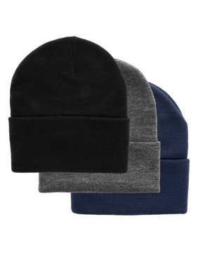 3 DG Hill Warm Winter Hats For Men, Beanie Hat For Men Set In Navy Blue, Slate Gray & Black, Pack Of Soft Acrylic Winter Caps For Men, Thermal Work Hat Set