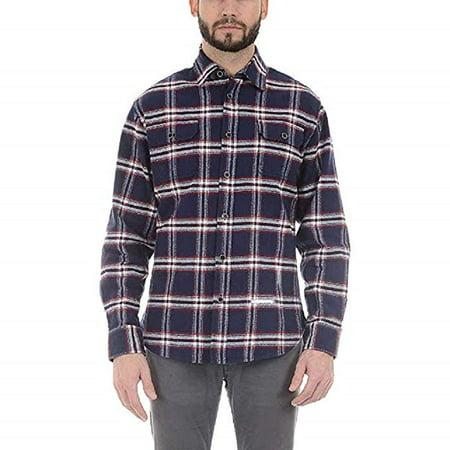 Jachs Men's Brawny Flannel Shirt (Medium, Navy/Red) -