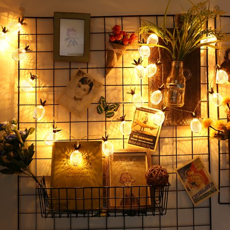 LED String Lights 7.2FT Pineapple Globe String Light, Battery Powered Fairy Lighting for Home Wedding Party Bedroom Birthday Decoration - Warm White, 20 LED, Metal - image 11 de 11