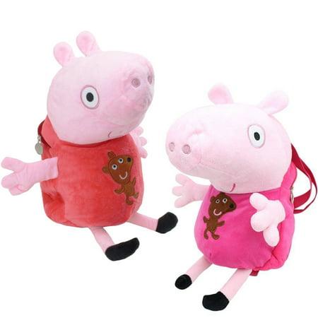 [2 Pack] Peppa Pig Backpack Plush Toy for Kid Girl Boy Toddler Shoulder Travel Satchel Bag Random Color B11872