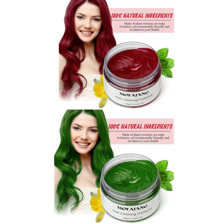 Temporary Red Hair Dye (Hair Wax Temporary Hair Coloring Styling Cream Mud Dye - Red Green for St. Patrick's)