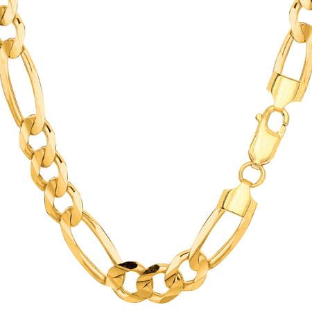 "10k Yellow Solid Gold Figaro Chain Bracelet, 8.3mm, 8.5"" - image 1 de 1"