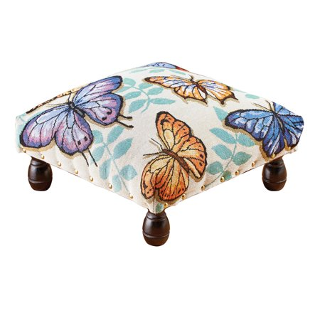 Colorful Bright Butterfly Tapestry Footstool with Traditional Brass Tack Studs and Wood Feet
