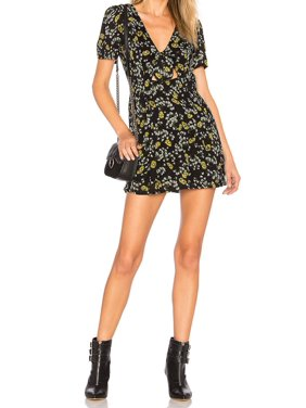Free People Womens Floral-Print Cutout Tie-Front Romper