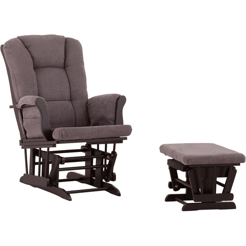 Status Veneto Glider and Ottoman Black with Gray Cushions