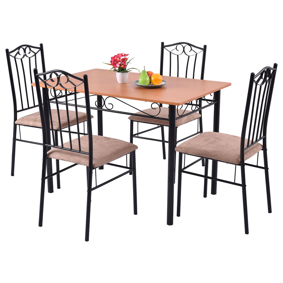Click here to buy Costway 5 PC Dining Room Set Wood Metal Table and 4 Chairs Kitchen Breakfast Furniture by Costway.