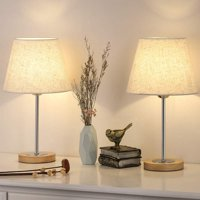 Lamps Set of 2, Modern Bedside Lamp with Linen Shade