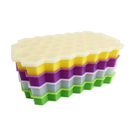 Durable Silicone Ice Cube Trays Silicone Mold with Lid Flexible 37 Cubes Storage Container for Cocktail - image 3 of 6