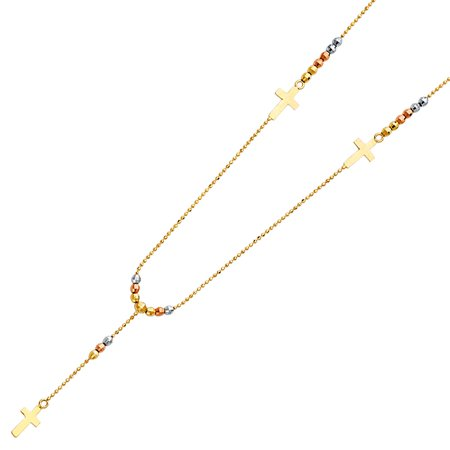 Colored Crucifix (14K Tri Colored Tone Gold Religious Crucifix Rosario Pain Cross Beaded Ball Links Diamond Cut 2.5mm Prayer Rosary Necklace 17