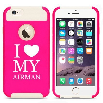 Apple iPhone 6 6s Hybrid Shockproof Impact Hard Cover / Soft Silicone Rubber Inside Case I Love Heart My Airman Airforce (Hot Pink-White),MIP