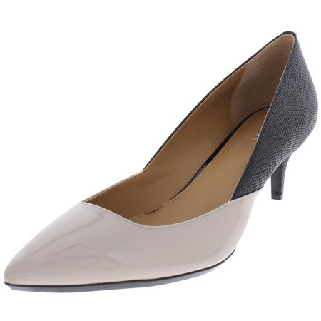Calvin Klein Women's Patna Patent Pointed Toe Dress Heel Shoe Beige Size 6.5