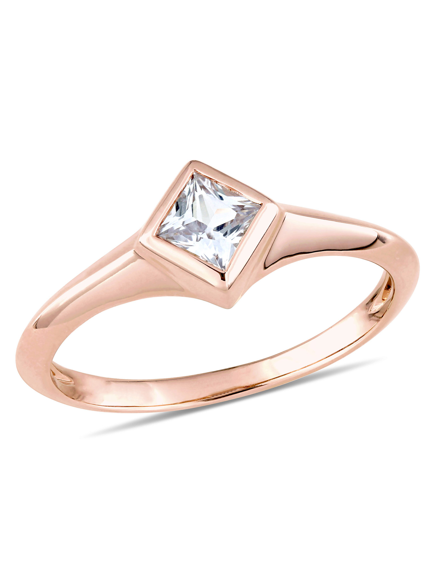 Miabella 3/8 Carat T.G.W. White Sapphire 14k Rose Gold Square Promise Ring