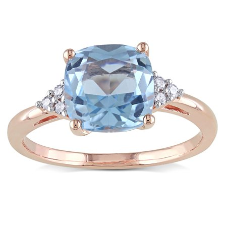 10k Rose Gold Sky Blue Topaz and Diamond Accent Cocktail Ring 10k Gold Cocktail Rings