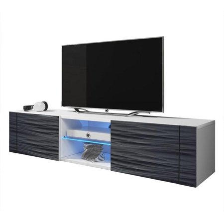 "Best Modern 61"" TV Stand Matte Body High Gloss Doors with 16 Color LEDs"