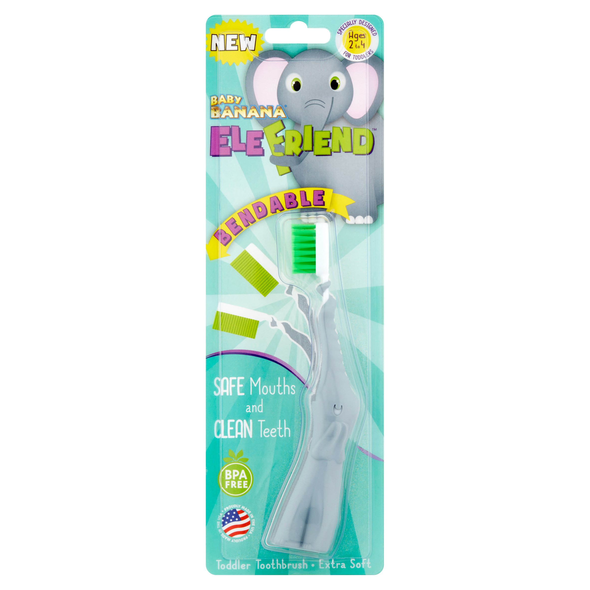 Baby Banana EleFriend Extra Soft Bendable Toddler Toothbrush Ages 2 to 4