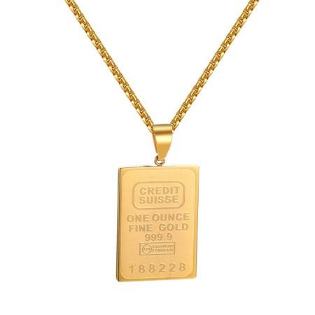 "Credit Bar Designer Pendant 18k Gold Plate Stainless Steel 24"" Necklace Charm Set"