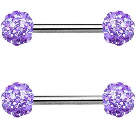 Pair of Crystal Accent Ferido Balls Nipple Piercing Rings Steel Barbell 14G 9/16