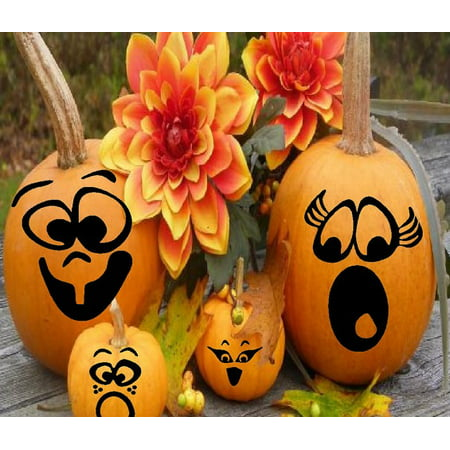 HALLOWEEN DECOR ~  PUMPKIN FACES ~ HALLOWEEN: QTY 12 PUMPKIN, OR WINDOW DECALS, 3
