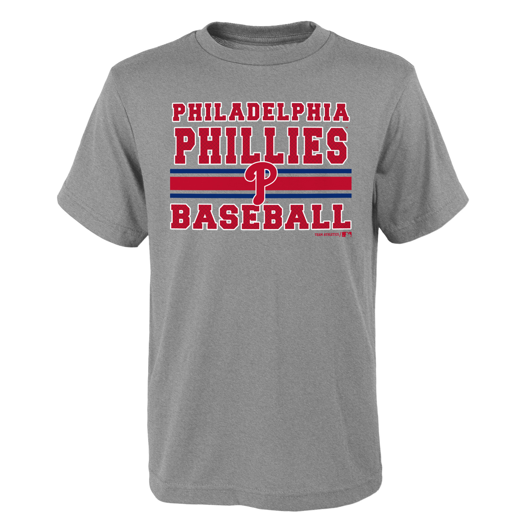 MLB Philadephia PHILLIES TEE Short Sleeve Boys OPP 90% Cotton 10% Polyester Gray Team Tee 4-18