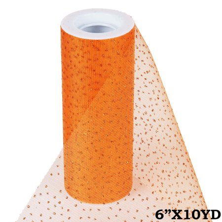 BalsaCircle 6 inches x 10 yards Glittered Tulle Ribbon by the Roll Crafts Sewing Wedding Party Draping DIY - Orange Net Lights Halloween