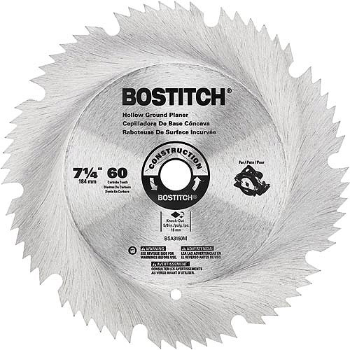"Bostitch 7 1/4"" 60T Hollow Ground Planer Blade, BSA3160M"