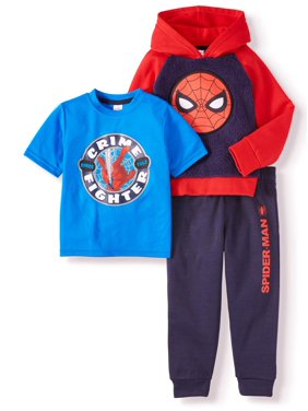 Spiderman Short Sleeve Graphic T-shirt, Colorblock Pullover Hoodie & Jogger, 3pc Outfit Set (Toddler Boys)