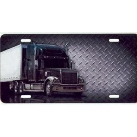 Semi Truck On Diamond Plate License Plate Free