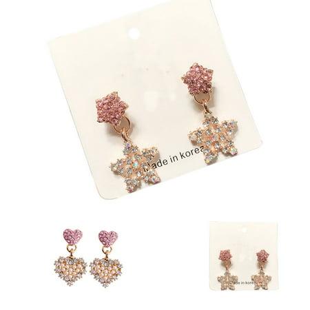 Ustyle 1 Pair Crystal Heart Star Drop Earrings Women Girls Lady 925 Silver Pin Drop Dangle Earrings - image 2 de 9