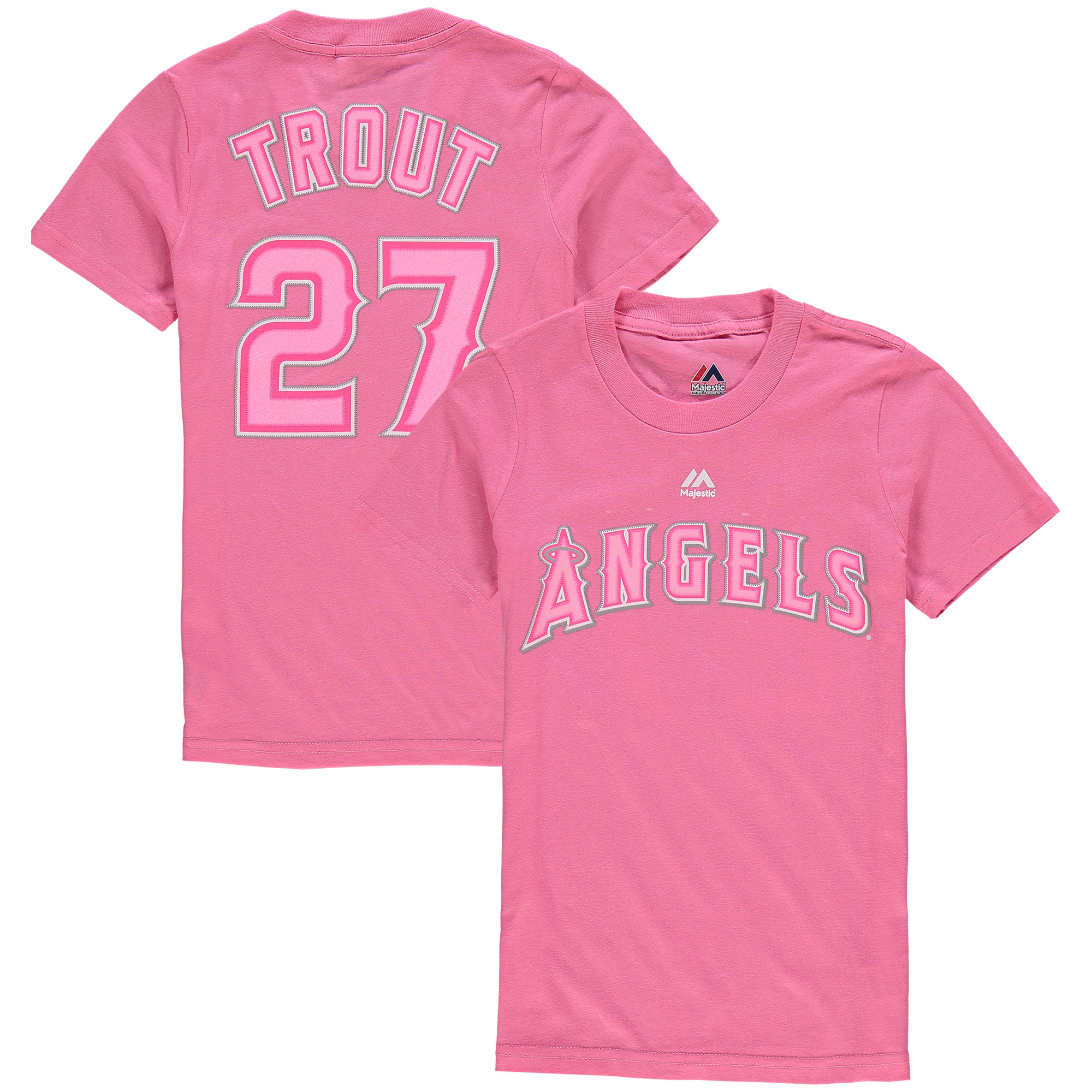 Mike Trout Los Angeles Angels Majestic Girls Youth Player Name & Number T-Shirt - Pink