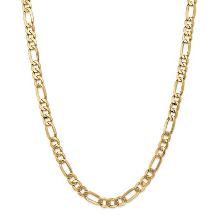 14K Yellow Gold 7mm Flat Figaro Necklace Chain -22