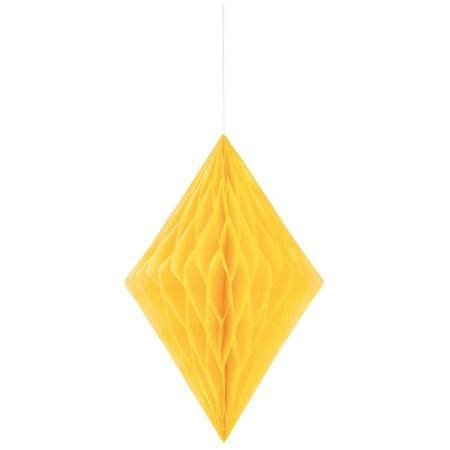 Diamond Tissue Paper Decoration, 14 in, Yellow, 1ct (Halloween Tissue Paper Decorations)