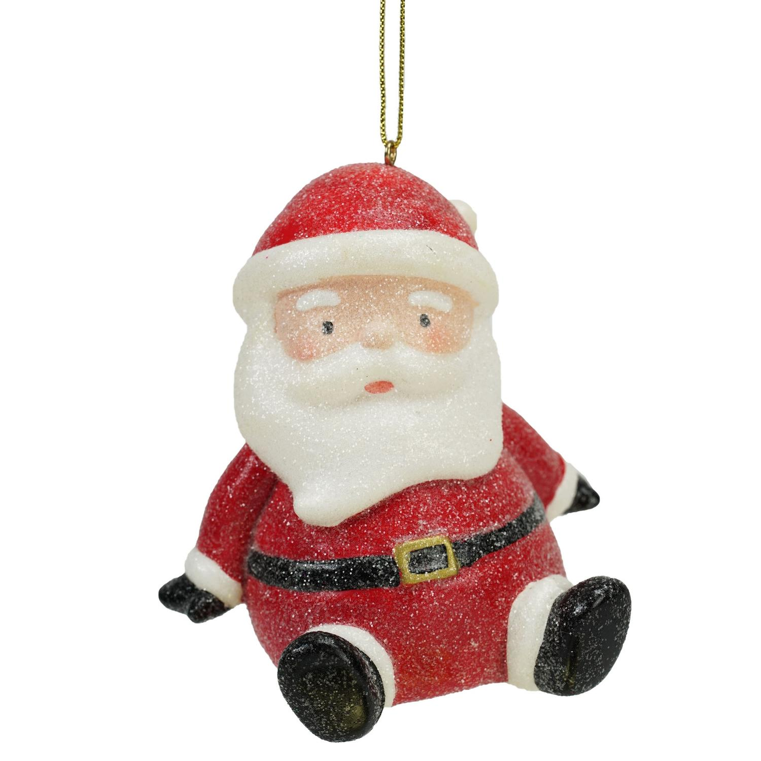 """4.25"""" Sweet Memories Lighted Musical Frosted Santa Claus Christmas Ornament"""
