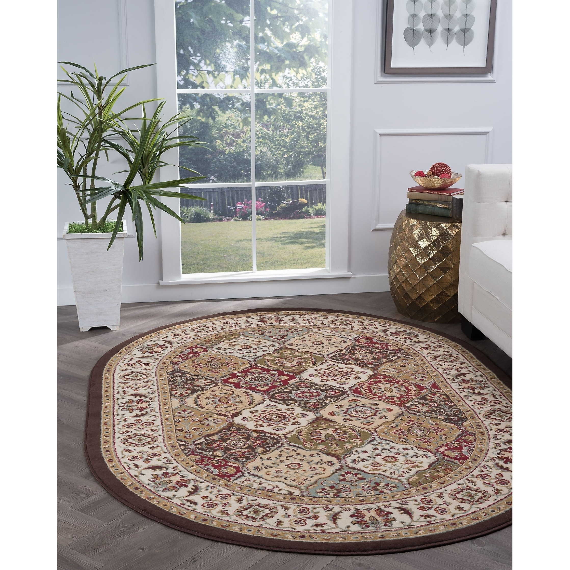 Alise Rugs  Lagoon Transitional Oriental Oval Area Rug - multi - 5'3 x 7'3