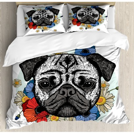 Pug Queen Size Duvet Cover Set, Head of a Dog Surrounded by Lively Spring Flowers Daisies and Puppies Sketch Art Print, Decorative 3 Piece Bedding Set with 2 Pillow Shams, Multicolor, by Ambesonne