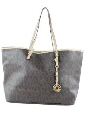 4836004c5036 Product Image Monogram Jet Set 12mke0108 Brown Coated Canvas Tote. Michael  Kors