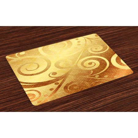 Modern Placemats Set of 4 Vector Gold Canvas Design Floral Swirls Leaves Nature Inspired Image, Washable Fabric Place Mats for Dining Room Kitchen Table Decor,Earth Yellow and Gold, by
