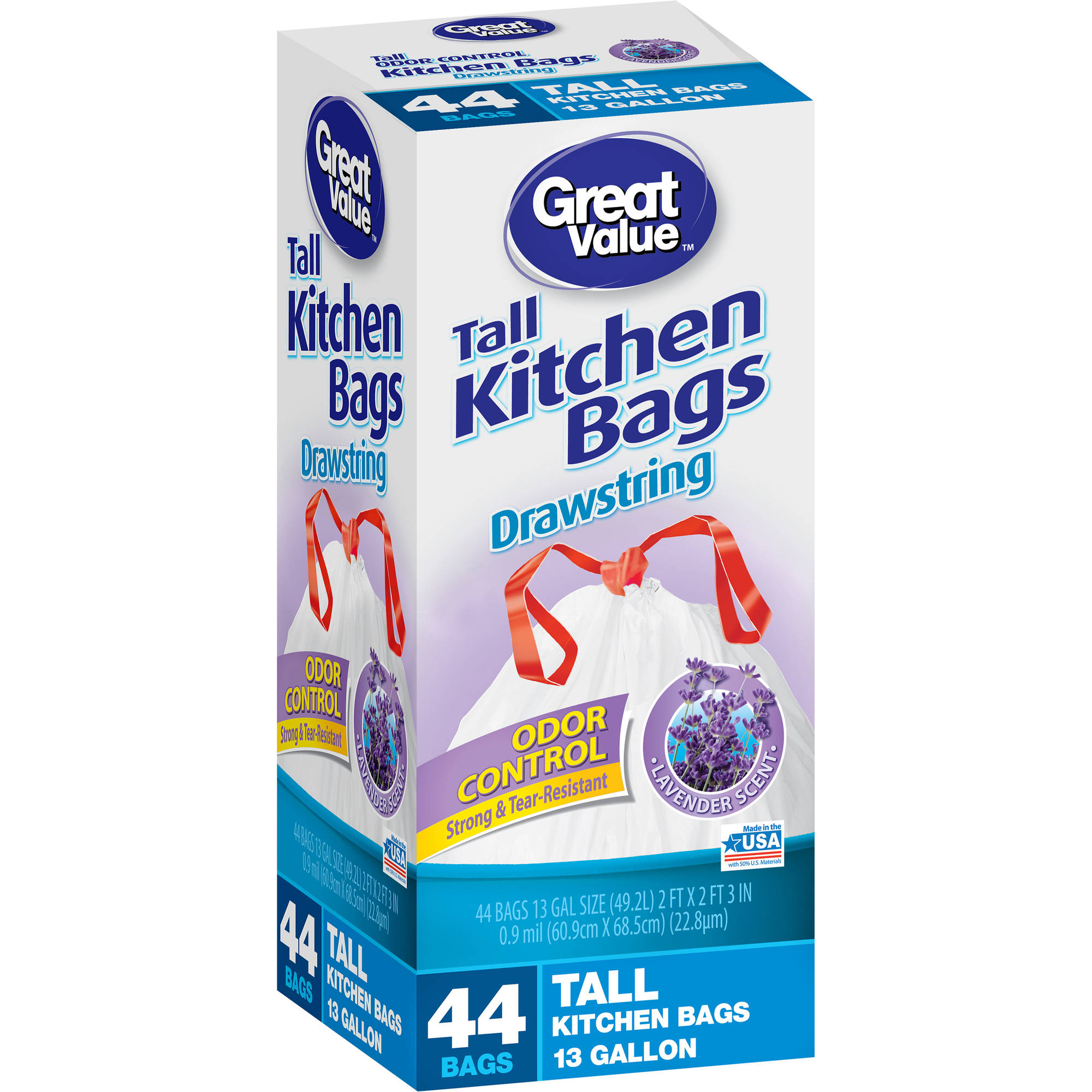 Great Value Tall Kitchen Trash Bags, 13 Gallon, 44 ct