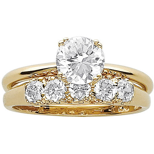33 Carat TGW CZ 14kt GoldPlated Wedding Ring Set Walmartcom